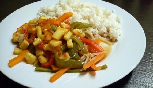 Verduras al vapor con salsa de naranja